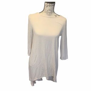 Solid long sleeve beige top long in the back